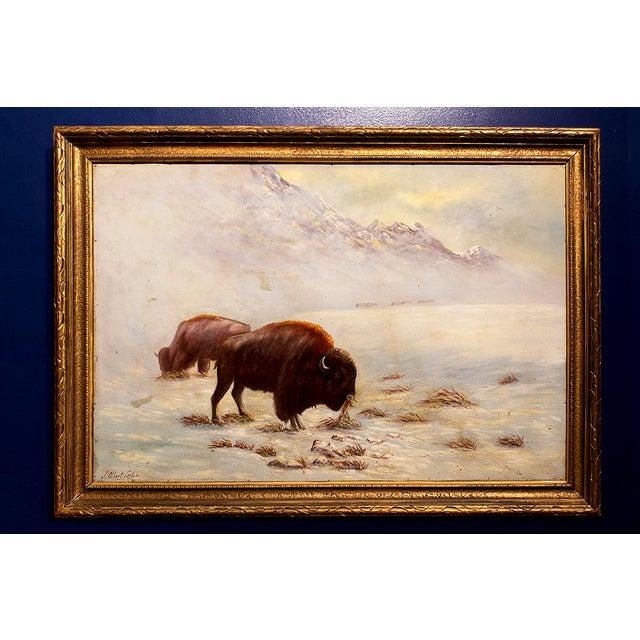 Circa 1935 J. Albert Sylvia American Buffalo Painting - Image 2 of 8