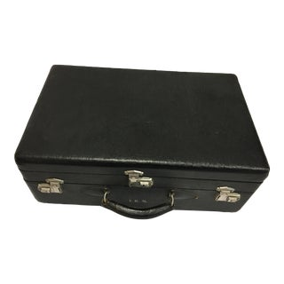 Vintage Textured Black Two Trays Suitcase For Sale