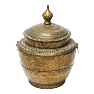 Chinese Brass Covered Pot With Triangular Motifs For Sale