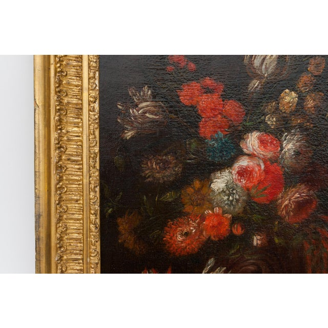 Metal 19th Century Floral Still Life Oil Painting in Gold Frame For Sale - Image 7 of 9
