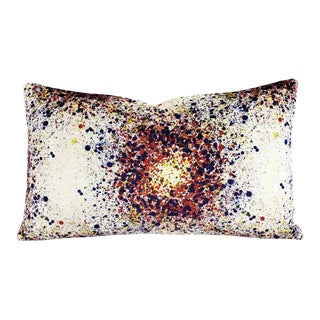 """Highland Court Bellatrix in Plum and Red Lumbar Pillow Cover - 12"""" X 20"""" Red, Purple, Yellow, and White Splatter Print Velvet Cushion Case For Sale"""