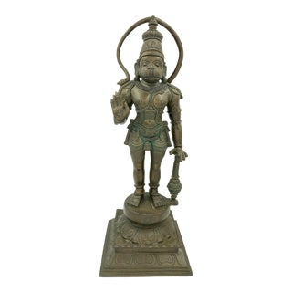 Indian Chola Bronze Hanuman Monkey God Ramayana Antique Large Heavy Metal Garden Statue Figure Vintage For Sale