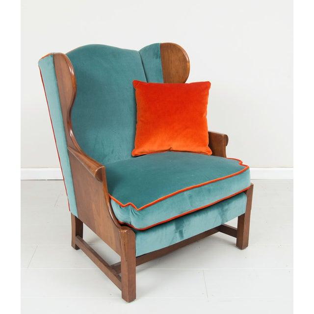Blue Velvet Upholstered Stickley Arm Chair - Image 2 of 4