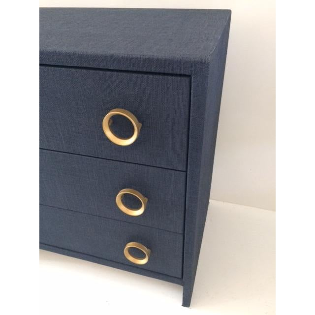 Contemporary Todd Hase Three Drawer Burlap Wrapped Chest For Sale - Image 9 of 13