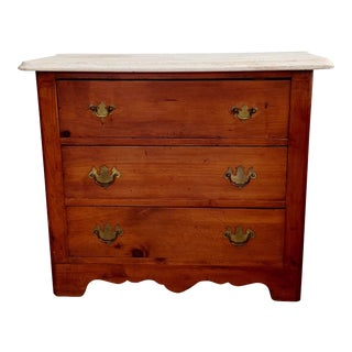 1800s Chippendale Pine Chest Dresser Commode With Marble Top For Sale