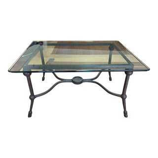 Pierre Deux Forged Iron + Glass Coffee Table For Sale