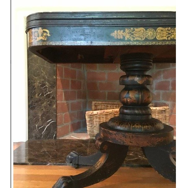 Traditional 19th Century Traditional Ebonized Gilt Stenciled Card Table For Sale - Image 3 of 6