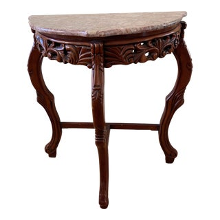 Vintage Asian Marble Top Accent Table For Sale