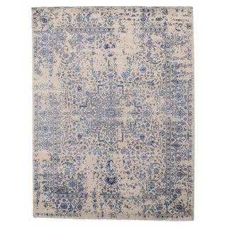 Modern Erased Design Silk &Wool Rug-8′ × 10′ For Sale