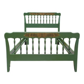 Vintage Green Hitchcock Colonial Autumn Harvest Stenciled Twin Bed Frame For Sale