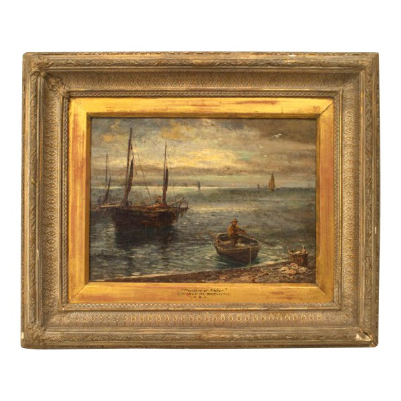 English Victorian Bleached and Carved Framed Oil Painting For Sale