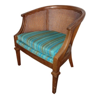 1950s Mid-Century Cane Barrel Back Lounge Chair For Sale