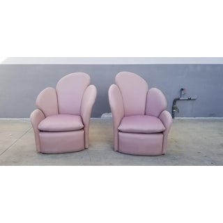 1970's Art Deco Revival Fan Back Lounge Chairs - a Pair Preview