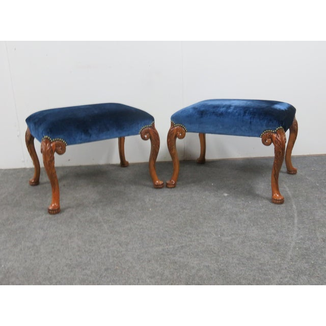 Late 20th Century Lewis Mittman Carved Mahogany Footstools - a Pair For Sale - Image 5 of 5