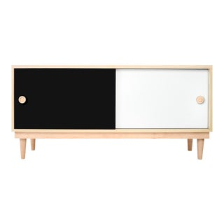 Lukka Modern Kids Credenza Console Solid in Walnut With Black Finish For Sale