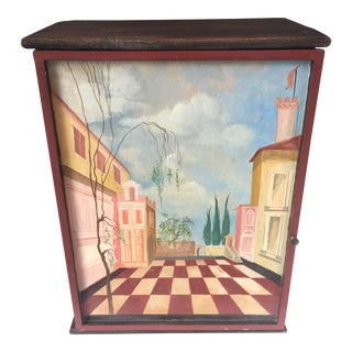 Trompe L'oeil Hinged Cabinet For Sale