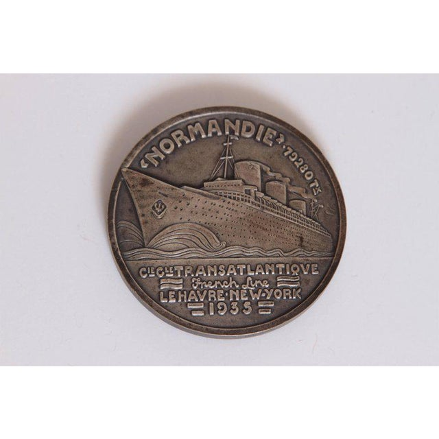 Art Deco French Normandie Medallion by Jean Vernon Silvered Bronze For Sale - Image 4 of 11