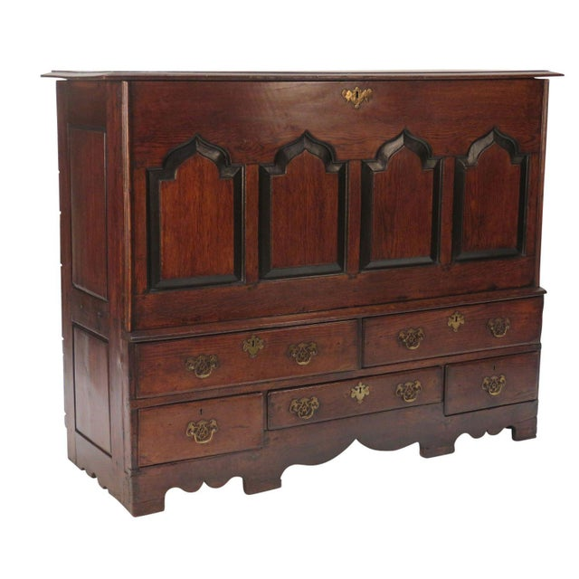 Handsome English oak Gothic inspired mule chest