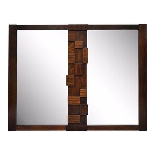 Vintage Mid Century Modern Lane Brutalist Cubist Paul Evans Style Dresser Mirror For Sale