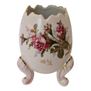 Vintage 50's Napco Porcelain Footed Egg Vase with Moriage Roses For Sale
