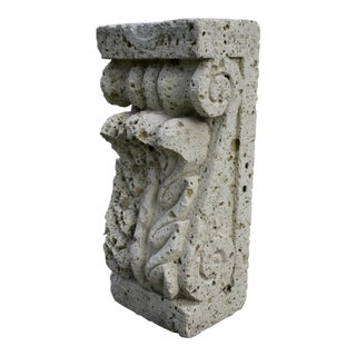 Rustic Carved Cantera Stone Plant Stand Pedestal For Sale