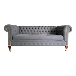 Gray Linen Chesterfield Sofa For Sale