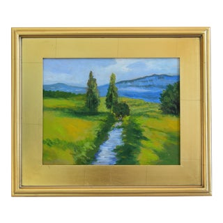 Flowing Stream & Lush Landscape Plein Air Oil Painting W/ Gold Leaf Frame
