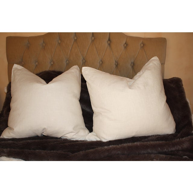 Large Belgium Cream Linen European Pillows - a Pair - Image 2 of 6