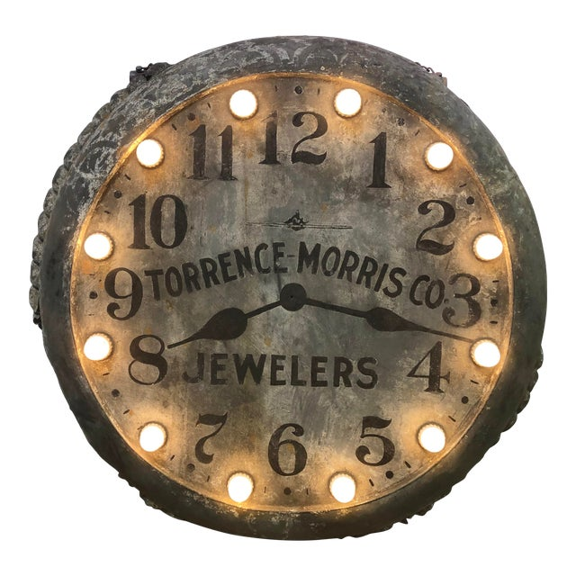 1910s Light Up Double Sided Jewelry/Clock Sign For Sale