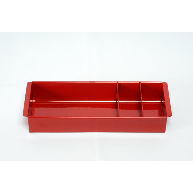 Cole Steel Image 0 Image 1 Image 2 Image 3 Image 4 Image 5 Image 6 Steel Tanker Drawer Insert Repurposed as Desktop Organizer, Refinished in Ruby Red For Sale - Image 4 of 8