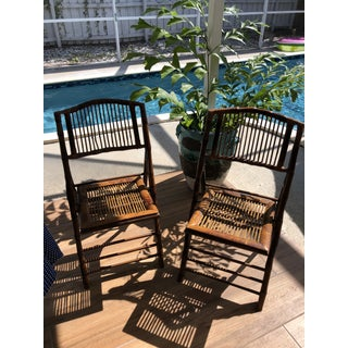1940s Vintage Burnt Tortoise Bamboo Folding Chairs- a Pair Preview