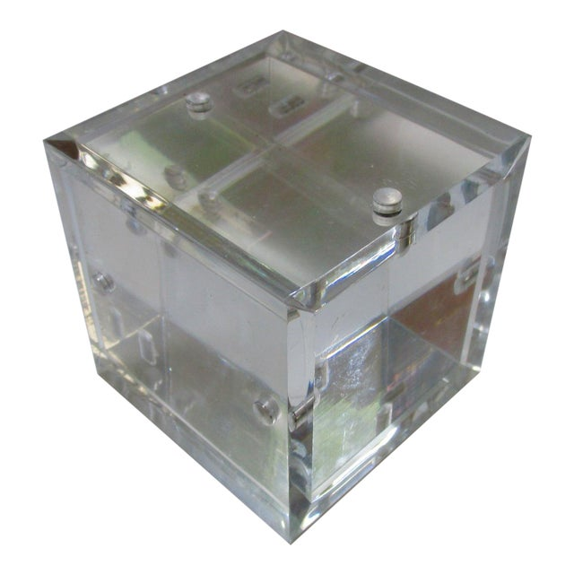 Lucite Cube Paperweight Picture Frame - Image 1 of 9