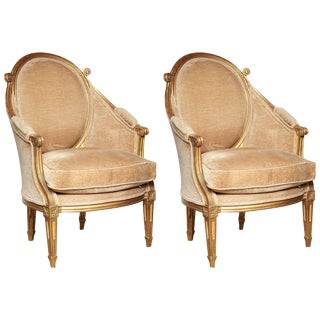 Pair of Italian Louis XVI Bergeres For Sale