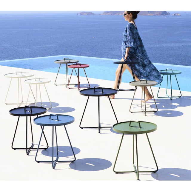 Mid-Century Modern Cane-Line On-The-Move Side Table, Small, Aqua For Sale - Image 3 of 5