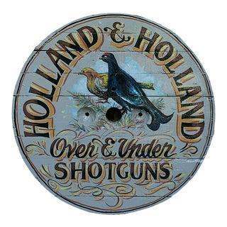 Vintage Holland & Holland Shotguns Birds English Pub Sign For Sale