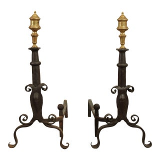 Vintage Forged Iron Andirons with Turned Brass Finials - a Pair For Sale