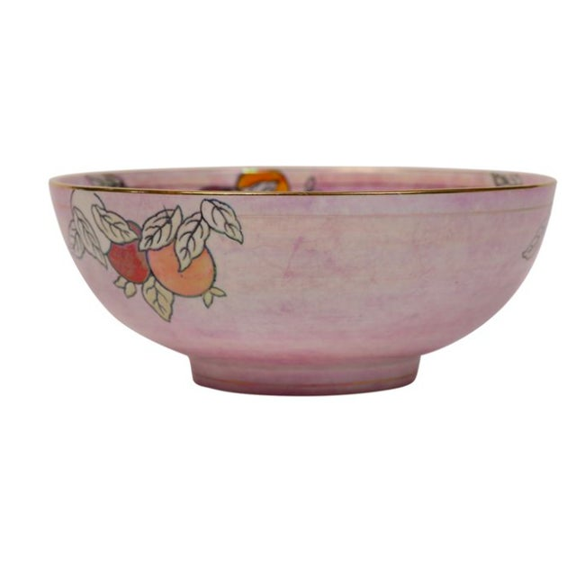 """Lovely English lusterware Chinoiserie center bowl. Marked """"Chu Chin Chow, by Bourne & Leigh, Burselm."""""""