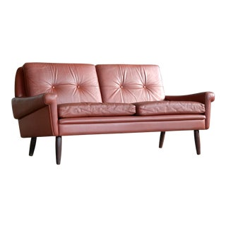 Svend Skipper 1960s Loveseat or Sofa in Reddish Brown Leather and Teak For Sale