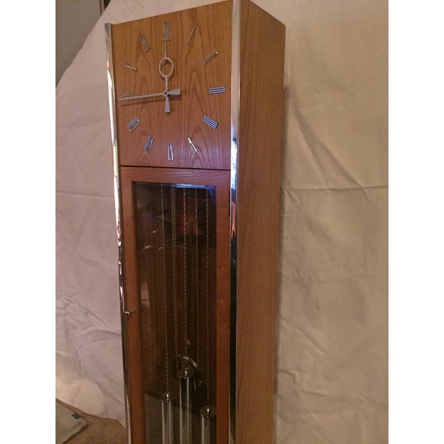 Vintage Mid Century Modern Oak and Chrome Pendulum Grandfather Clock For Sale - Image 6 of 11