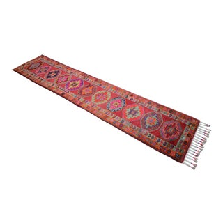 Hand-Knotted Kurdish Runner Rug. Tribal Herki Runner Hallway Decor - 2′10″ × 14′1″ For Sale