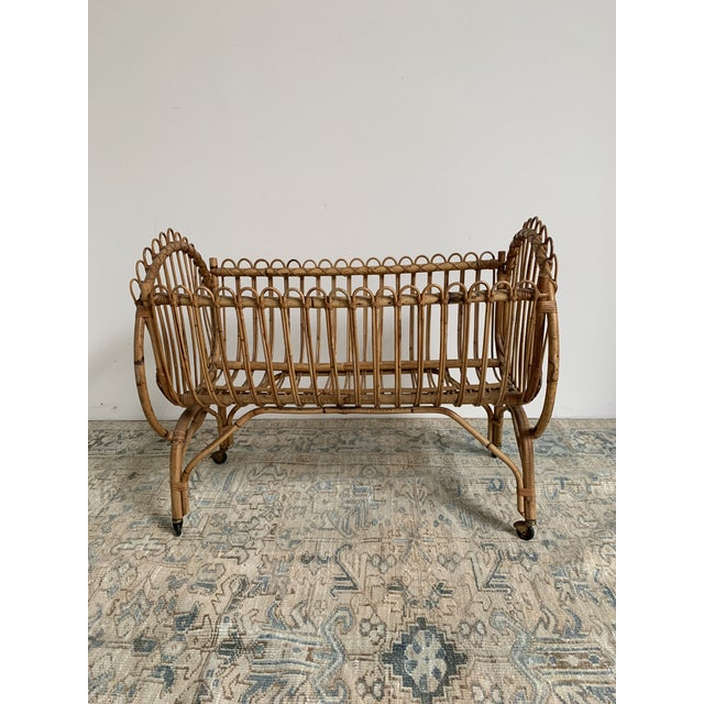 Mid 20th Century 20th Century Boho Chic Rattan Bamboo Bassinet/Crib For Sale - Image 5 of 5