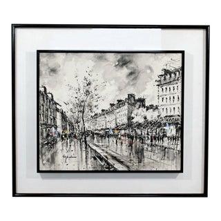 Mid-Century Modern Framed Paris Street Scene Oil Painting on Canvas Signed For Sale