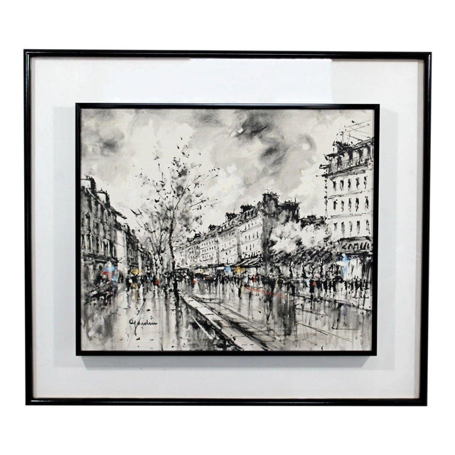 Mid-Century Modern Framed Paris Street Scene Oil Painting on Canvas Signed For Sale