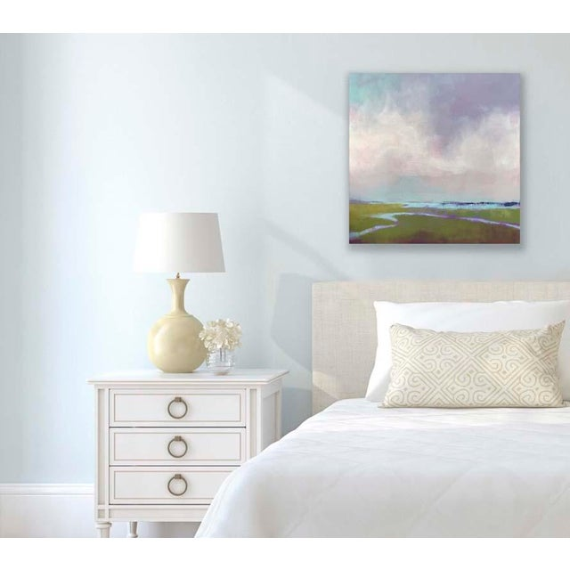 """""""Purple Haze,"""" is a contemporary interpretation of a salt marsh view. Created with layers of oil paint and cold wax..."""
