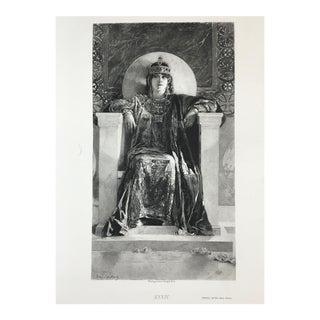 1892 Antique Historical Figure Empress Theodora Photogravure Print For Sale