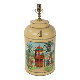 Vintage English Export Tea Caddy Lamp For Sale