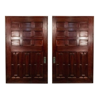 English Victorian Gothic Oak and Mahogany Doors - a Pair For Sale
