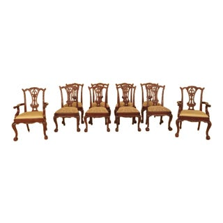 Maitland Smith Carved Mahogany Dining Room Chairs - Set of 10