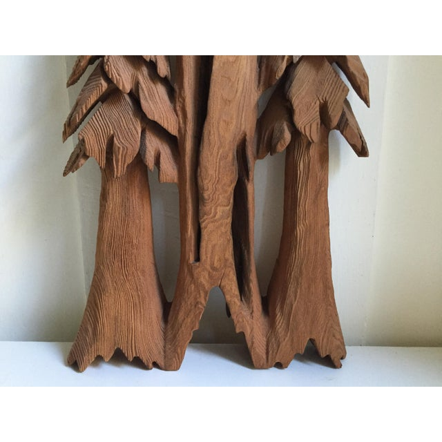 Vintage Rustic Redwood Carving Wall Hanging For Sale - Image 5 of 8