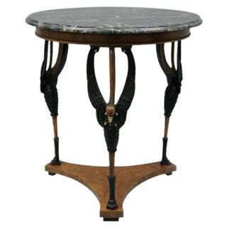 Italian Regency Neoclassical Swan Marble Top Round Center Gueridon Table For Sale